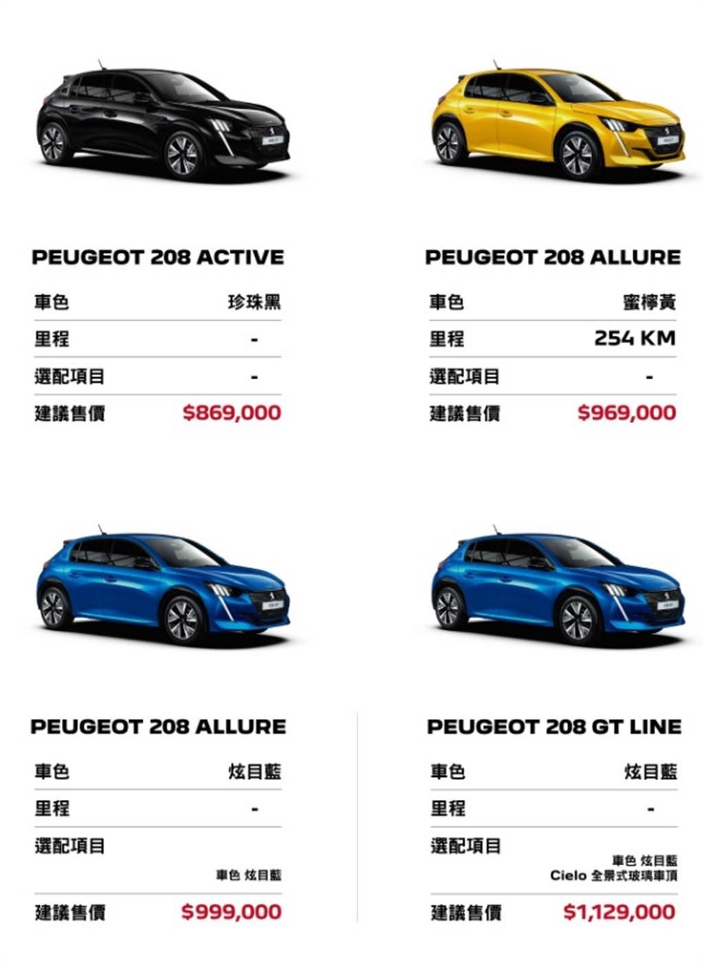 Peugoet 208僅提供4台現車販售,想要購買得要抽籤才有機會!(圖/擷取自寶嘉聯合官網)