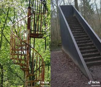 森林驚見詭異樓梯 她曝恐怖傳說:爬上去的都回不來