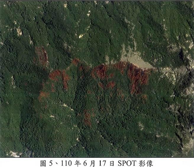 NCC前專委喬建中等5人引發12天森林大火,南投地檢署偵辦找出失火後營地周圍衛星照片。(南投地檢署提供/黃國峰南投傳真)