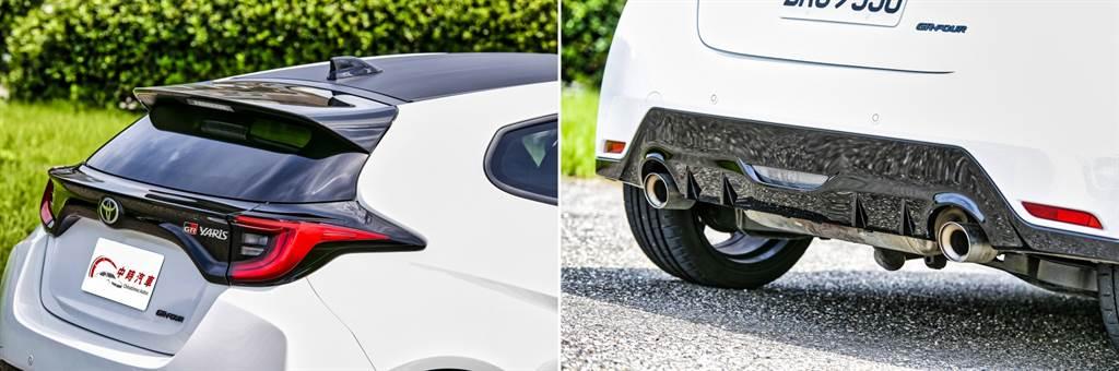 在車尾上方的尾翼、尾門中央與保桿下方皆採用黑色塗裝,與黑色的碳纖維車頂相呼應,搭配白色車身尤為顯眼。(圖/陳彥文攝)