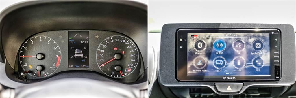 儀錶板為類比指針式搭配中央彩色資訊幕,可顯示相當豐富的車輛資訊,如四輪動力分配、即時增壓值等等;而中央螢幕功能不多且僅有7吋,與時下主流智慧型手機大小相近,但支援Apple CarPlay/Android Auto。(圖/陳彥文攝)