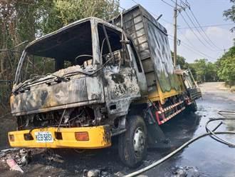 台南載瓦斯桶工程車起火燃燒 駕駛棄車驚逃