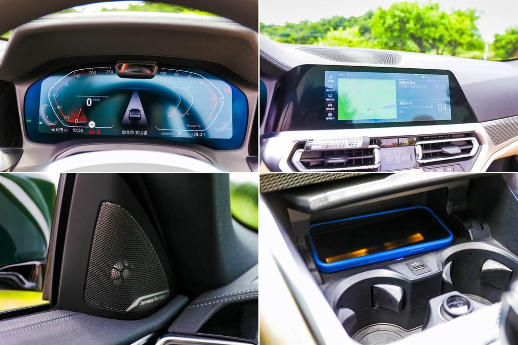 12.3吋數位儀錶、10.25寸中控螢幕搭配iDrive 7.0系統與qi無線充電板等等,早已是BMW全車系標配,屬於高階車型的430i Convertible,另外還提供Harman/Kardon音響。(圖/陳彥文攝)