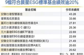 符合晨星ESG標準基金 9檔今年來賺逾2成
