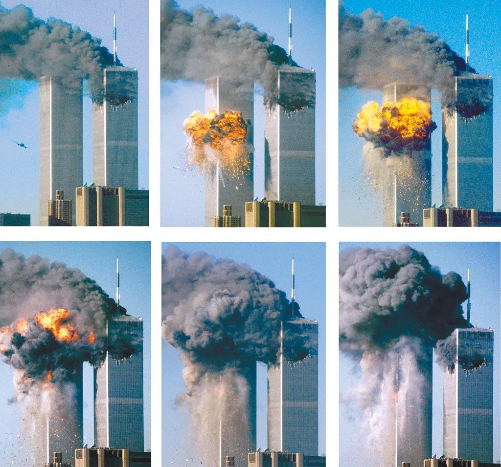 美國911恐怖攻擊事件將於本周六(11日)屆滿20周年。2001年9月11日,多名恐怖分子分別劫持美國4架民航客機,其中兩架撞擊紐約世貿中心雙塔大廈,一架撞毀華府五角大廈一側,另一架在賓州墜毀。圖為世貿雙塔大廈北樓遇襲後不久,南樓遭到一架客機撞擊的連續畫面。(新華社)
