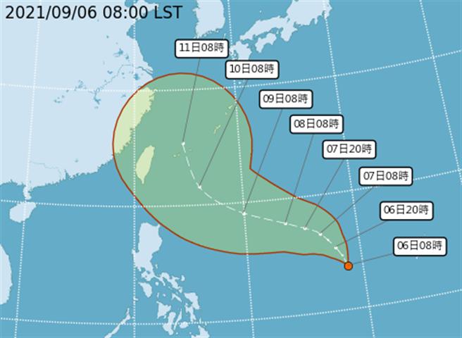熱帶性低壓生成,最快周三增強為今年第13號颱風「康森」。(翻攝自氣象局)