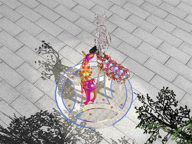 鹿港溪預計在月底「再現」了,象徵「二鹿」公共藝術品「福鹿獸」將壓軸揭曉,閃亮的不銹鋼材質,印上充滿鹿港圖騰的窗花和糕餅印模紋。(彰化縣政府提供/吳敏菁彰化傳真)