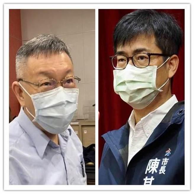 台北市長柯文哲(左)與高雄市長陳其邁(右)的網路聲量比較曝光。(合成圖 資料照片)