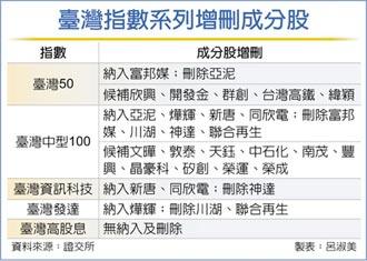 臺灣50成分股 納富邦媒刪亞泥