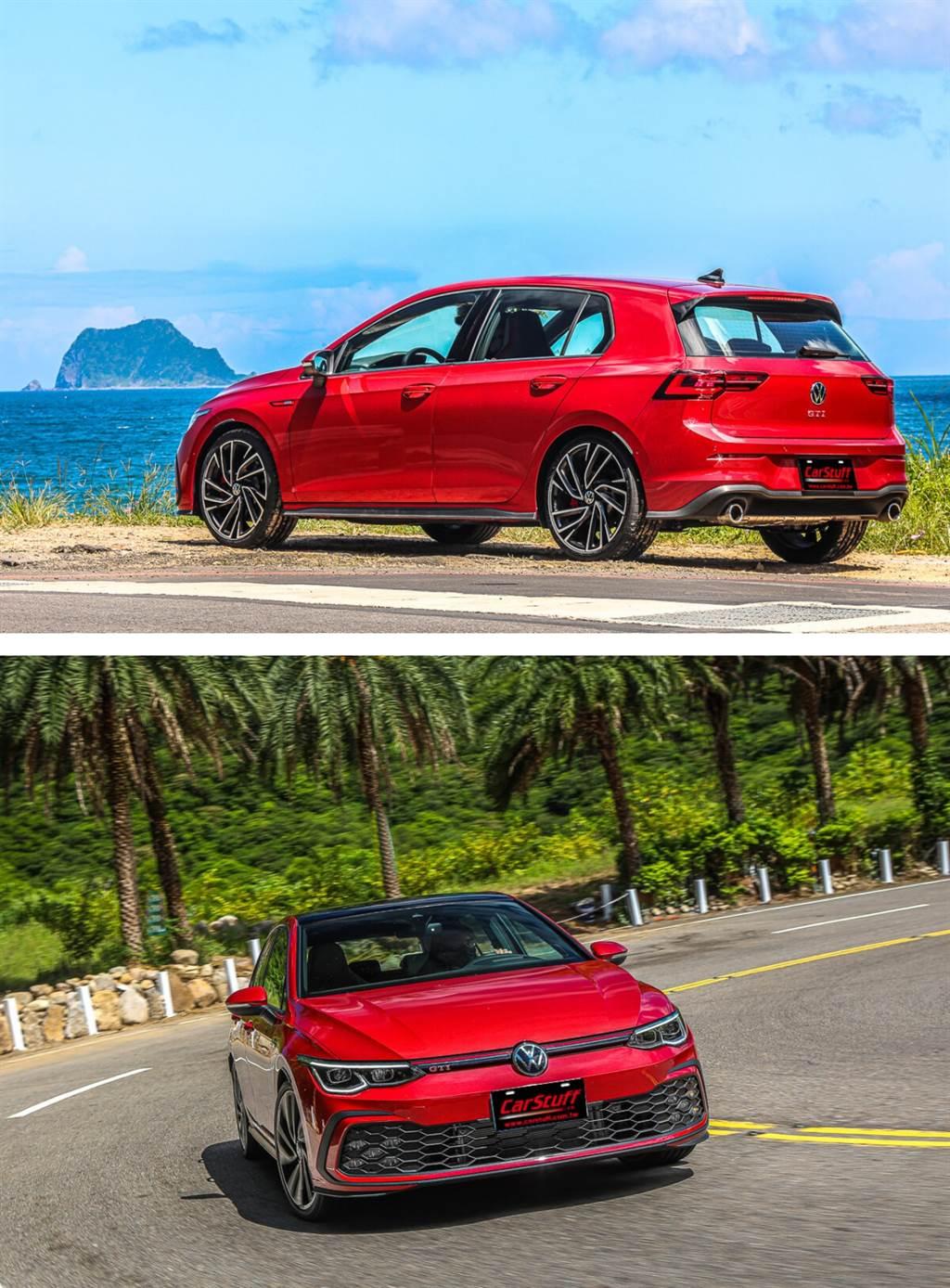 側面突出的設計元素仍保留Golf傳統粗壯的C柱,它在視覺上有推動車身向前的效果,GTI字樣現在改擺置於新Volkswagen廠徽下方的中央,而不是像以前那樣位於駕駛那一側。由於車頂擾流板明顯向後延伸以及車頂後部線條稍微向下,因此風阻也有所降低(Cd值為0.275)。(圖/CarStuff_Allen Chao攝)