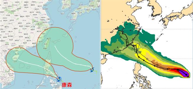 中央氣象局最新「路徑潛勢預測圖」顯示(左圖),「康森」向西北穿過呂宋島,進入南海,對台無影響。另一熱帶低壓向西北西朝台灣前進,不確定性範圍相當大,直接侵襲台灣的機率亦不能排除;最新歐洲系集模式(ENS)亦有類似的模擬(右圖)。(翻攝自「三立準氣象· 老大洩天機」)
