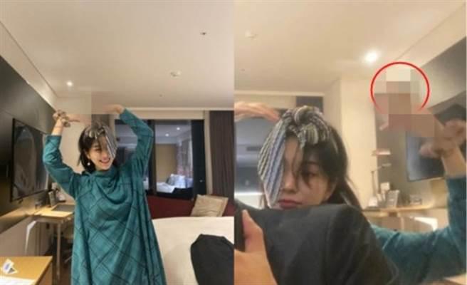 珉娥在室內抽菸遭抓包。(圖/翻攝自珉娥IG)