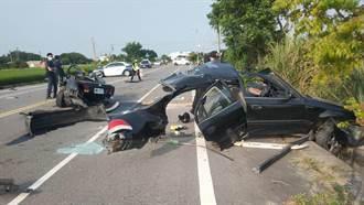 苗栗轎車自撞斷2截 駕駛男頭骨外露送醫、1女拋出車外慘死