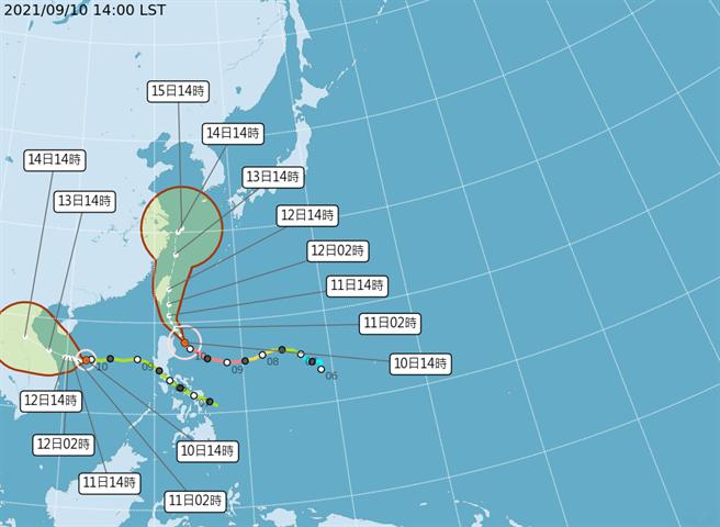 週六晚間至週日,將會是璨樹影響台灣本島最劇烈時刻。(圖/中央氣象局)