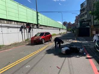 超衰影片曝光!三寶竄出擦撞女騎士 她噴對向車道再撞BMW