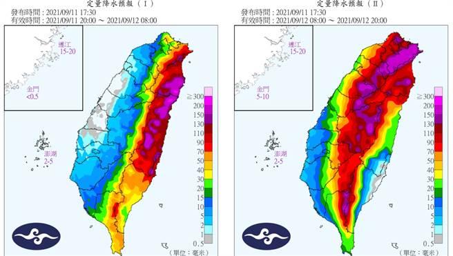 氣象局定量降水預報顯示,東北部地區將出現可觀累積雨量。(圖/中央氣象局)