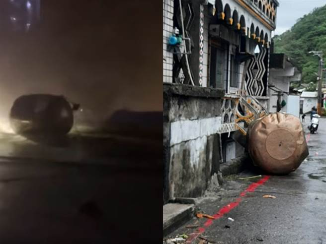 有蘭嶼民眾直擊住家的水塔當場被強風吹倒、從屋頂掉落至地面,也有木製平房、涼亭等建築物被吹垮,樹木被連根拔起。(民眾提供)