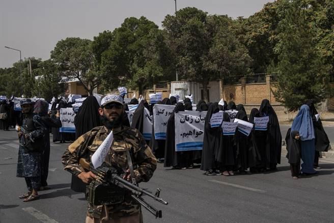 塔利班發動的女性遊行,表達對塔利班的支持。(圖/美聯社)