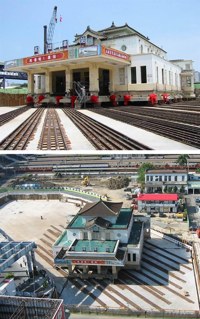 搬遷車站使用總掘工法,先以千斤頂抬高建築,再鋪設鋼軌緩慢平移。(圖片提供/交通部鐵道局南部工程處)