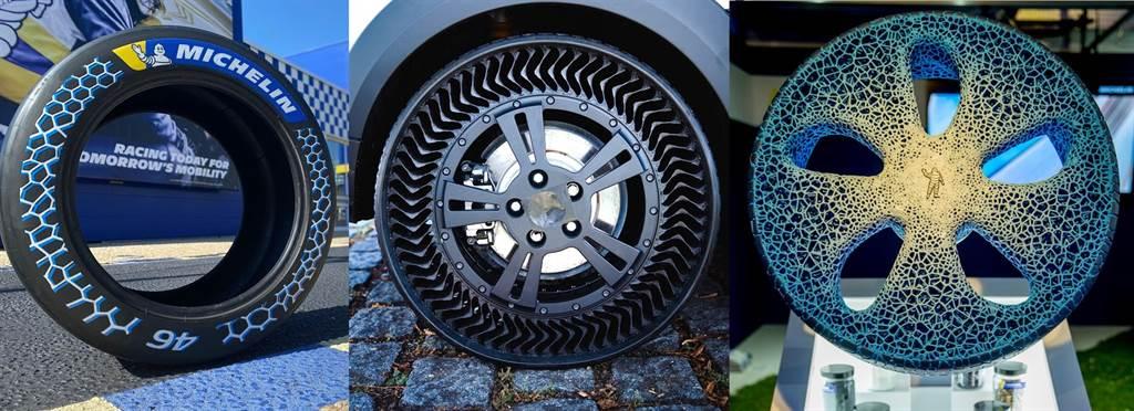 米其輪的3種輪胎,最左是普通充氣輪胎,最右是早期的非充氣輪胎,中間是改進後的非充氣輪胎。(圖/米其林)