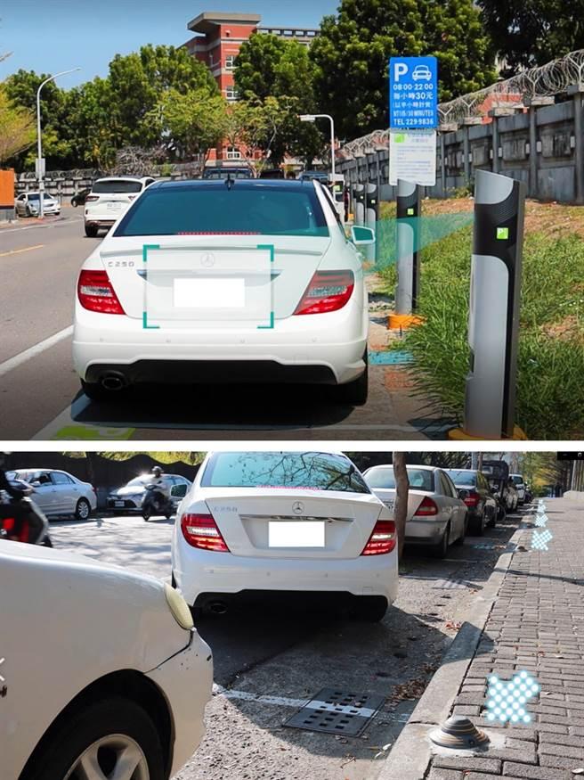 智慧停車格配合現有空間和地形,設置立柱式、嵌入式(如箭頭指示)等規格的車牌感應及辨識器。(圖片提供/高雄市政府交通局)