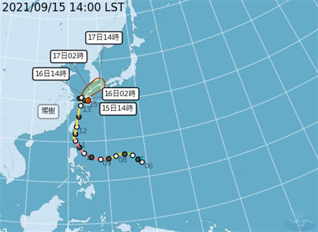 輕度颱風璨樹預計今天(15日)在上海外海附近滯留打轉一天後,於明天(16日)開始往日韓之間前進。(氣象局提供)