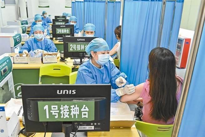 大陸12-17歲人群已經接種超過1.7億劑次,覆蓋9528.7萬人。圖為大陸民眾接種新冠疫苗。(中新社)