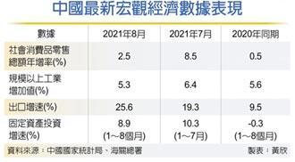 陸8月經濟指標 驚現疲態