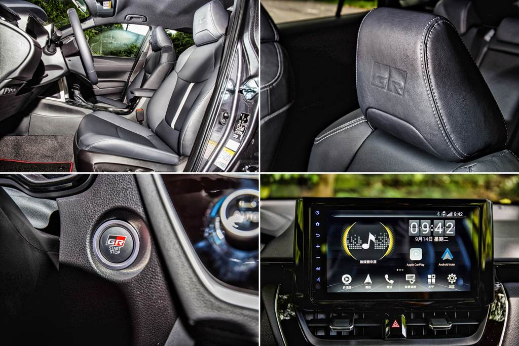 包括座椅、引擎啟動鈕以及車機開機畫面都具有GR專屬設計,不過試駕車選配4G主機,看不到專屬開機畫面但多了Garmin導航、即時路況資訊以及Apple CarPlay/Android Auto等功能。(圖/陳彥文攝)