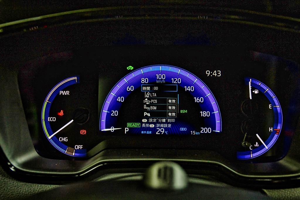 駕駛儀錶在Hybrid車型採用7吋數位儀錶,但汽油版則是類比儀表加上中央4.2吋資訊幕。(圖/陳彥文攝)