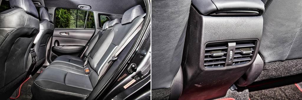 以同級SUV而言,後座空間表現前段班,並提供了椅背兩段角度調整、空調出風口等機能,另外也可看到椅背上與前座同樣具有GR Sport車型專屬的白色飾條。(圖/陳彥文攝)
