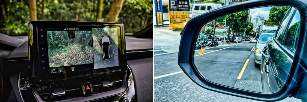 PVM環景影像系統是兩款GR Sport車型以及Hybrid旗艦型的專屬配備,而BSM盲點偵測在GR Sport則是包含於專屬選配套件之中。(圖/陳彥文攝)