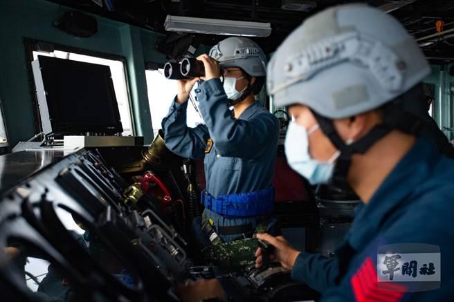 海軍146艦隊田單軍艦參與本次「漢光37號」實兵演練。(軍聞社提供)