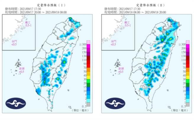 明(18日)中午過後西半部、東北部地區及其他山區有局部短暫雷陣雨,並有局部大雨發生的機率。(氣象局提供)