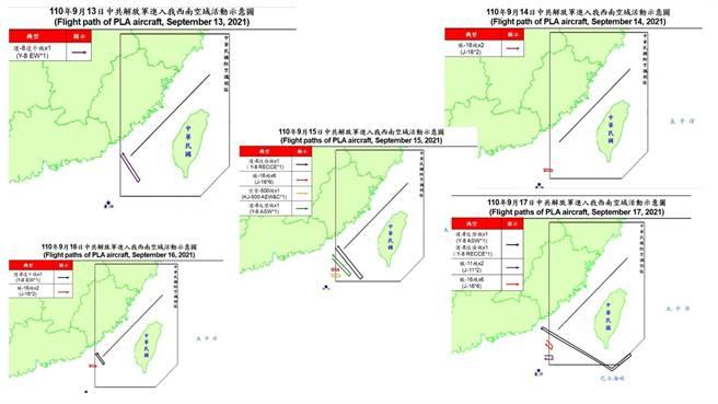 近期漢光演習共軍空中兵力在台灣西南與東南活動意涵。(圖源引自國防部即時軍事動態)
