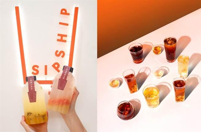 白淨系手搖 SIPSHIP 以愛馬仕橘線條綴飾吧台、牆面及招牌,加上弧形入口、手刷紋理吧台、冰滴茶柱及冷萃拉霸,體現簡約的純白美學。(圖/品牌提供)