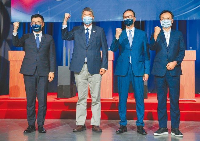 國民黨主席選舉,四位候選人江啟臣(左起)、張亞中、朱立倫、卓伯源。(本報資料照片)