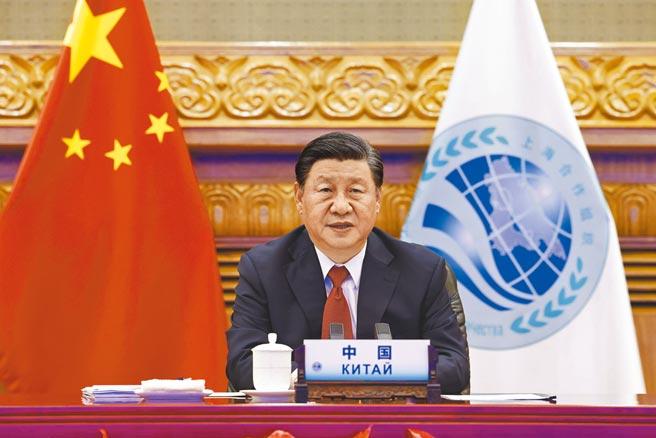 大陸國家主席習近平17日在北京以視訊方式出席上海合作組織成員國元首理事會第21次會議,並發表重要講話。(新華社)