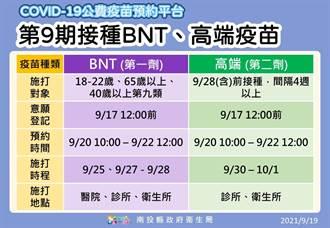 第9輪BNT、高端同步開打 南投採單日、單類疫苗排程