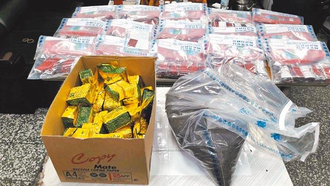圖為茶葉包夾藏一粒眠,毒販試圖透過國際郵包走私至柬埔寨,被警方及時攔截查獲。(本報資料照片)