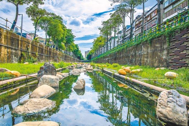 新北市在藤寮坑溝母溝覆上植披、在深槽以卵石堆砌,營造近自然生態河道及生態棲息空間。(新北市水利局提供/葉德正新北傳真)
