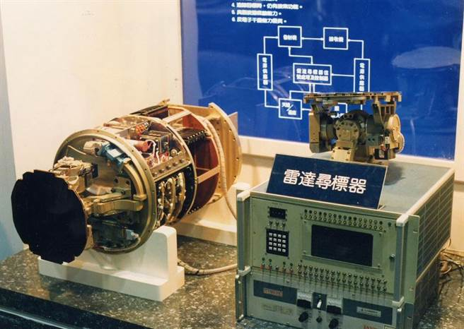 1990年06月中科院研製的雷達尋標器首次公開展出,雷達尋標器飛彈如虎添翼,現場人員表示,這種尋標器適用各種飛彈,中科院因無法自國外獲得,只好自行研製,目前已用在天弓一號飛彈彈頭。(許村旭攝,中時報系檔案照禁止轉載)