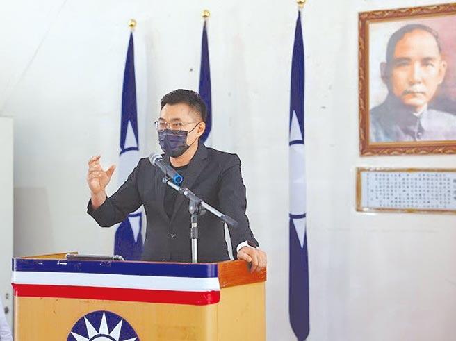 江啟臣批評對手一面喊團結、一面互鬥。(國民黨台中市黨部提供)