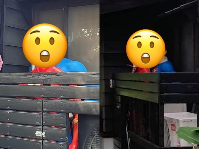 1名網友在嘉義市知名景點檜意生活村內發現園區內2個大型模型-超人與閃電俠被擺在一起,但擺放位置有些奇怪,竟是一前一後緊貼彼此,讓網友大感害羞。(翻攝自臉書「路上觀察學院」)