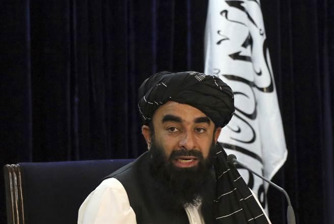 塔利班政府發言人、資訊暨文化部長穆賈希德(Zabihullah Mujahid)。(圖/美聯社)