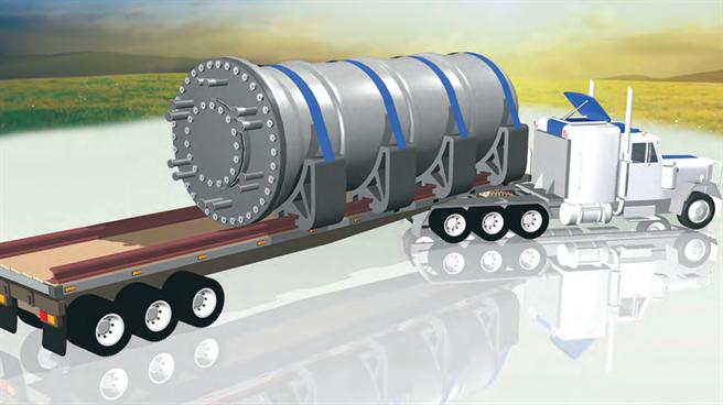 小型模組化反應爐可以在工廠裡組裝完成,然後以卡車運輸到興建地點。(圖/IAEA)