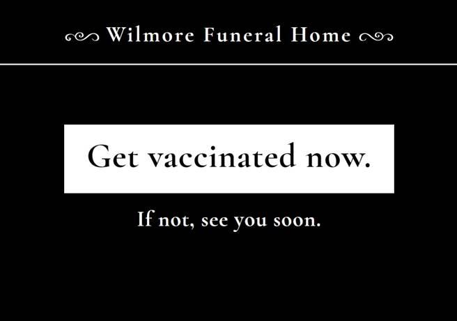 刊登廣告的葬儀社官網,有著與宣傳車截然不同的廣告標語。(Wilmore Funeral Home官網截圖)