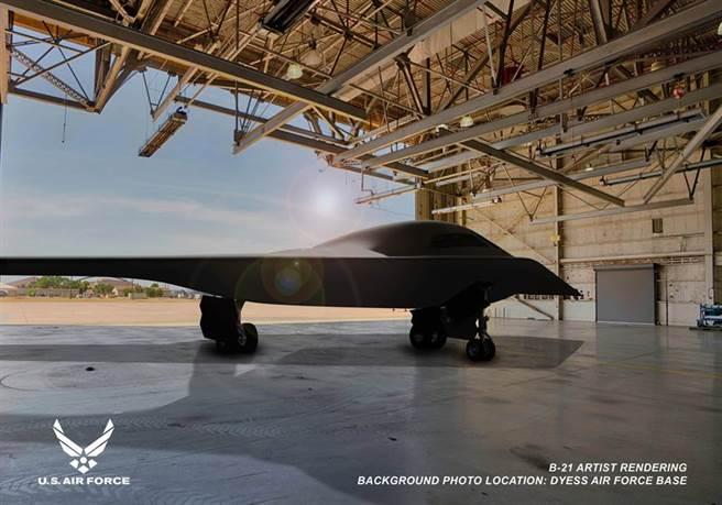 美國空軍最新式的B-2隱形轟炸機預計明年首飛,目前正在建造多達5架測試用飛機。圖為B-21效果圖。(圖/美國空軍)