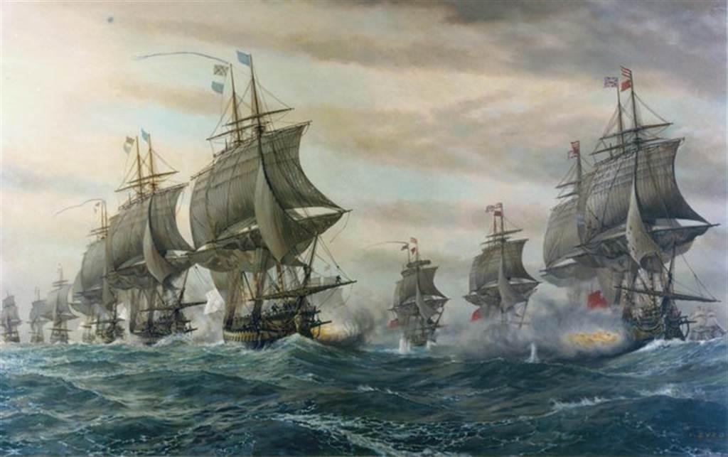 1781年美國獨立戰爭期間,法國艦隊在維吉尼亞乞沙比克灣海戰協助美國擊敗了英國艦隊,並直接導致英軍在約克鎮戰役大敗而投降。英軍自此節節敗退,最後被迫准予美國獨立。圖為乞沙比克海戰手繪。(圖/美國海軍歷史檔案館)