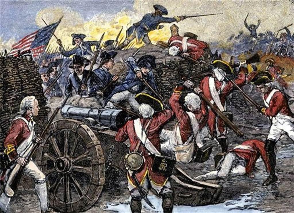 法國艦隊協助美軍在乞沙比克灣擊敗英國艦隊,直接導致英軍在約克鎮一役慘敗而投降,自此美國獨立戰爭形勢逆轉,英軍節節敗退後同意美國獨立。圖為約克鎮戰役手繪圖。(圖/推特@cwoniezgoda)